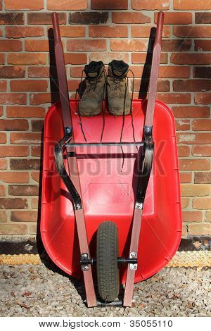 Red Wheelbarrow and  Muddy Boots