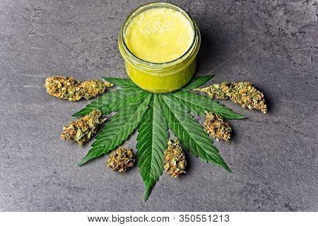 Cannabis Homemade Ointment And Leaf And Buds