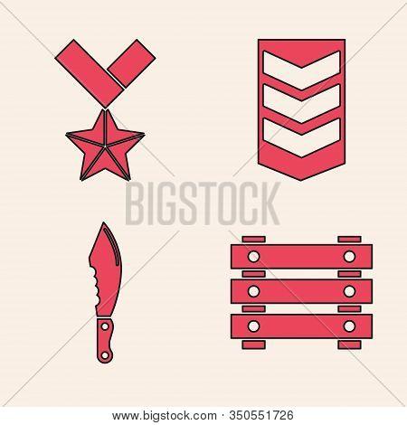 Set Military Ammunition Box, Military Reward Medal , Military Rank And Military Knife Icon. Vector