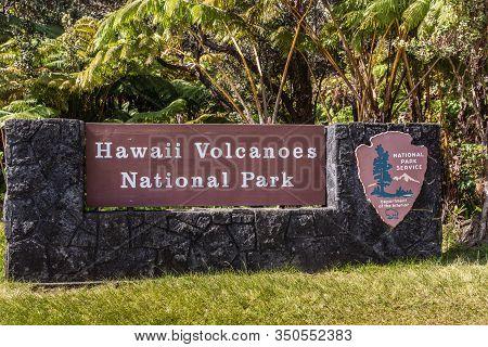 Kilauea Volcano, Hawaii, Usa. - January 9, 2012: White On Brown Sign Of Hawaii Volcanoes National Pa