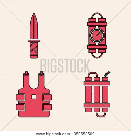 Set Detonate Dynamite Bomb Stick, Military Knife , Detonate Dynamite Bomb Stick And Timer Clock And