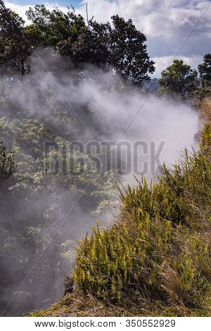 Kilauea Volcano, Hawaii, Usa. - January 9, 2012: White Steam And Gasses Escape From Crevasses On The