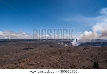 Kilauea Volcano, Hawaii, Usa. - January 9, 2012: Landscape With Kalemaumau Crater Producing White-br