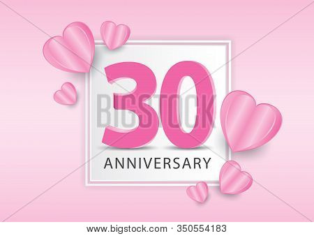 30 Years Anniversary Logo Celebration With Heart Background. Valentine's Day Anniversary Banner Vect