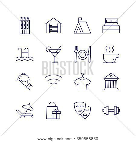 Traveling Vector Outline Icon Set. Hotel Symbol
