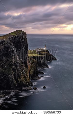 The Spectacular View To The Lighthouse Of Neist Point In Scotland