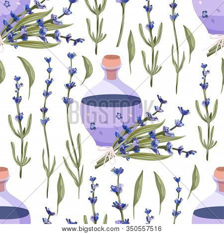 Provence Seamless Vector Vintage Pattern In A Flat Style. Lavender Blossom Flower Bouquet And Lavend