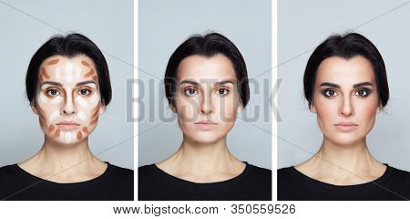 Collage with images of young woman with three makeup steps: contouring, blending, full makeup