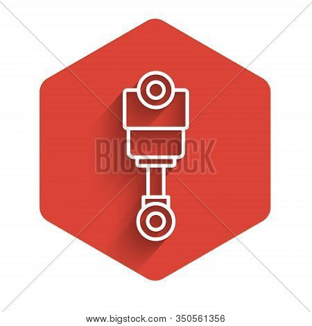 White Line Engine Piston Icon Isolated With Long Shadow Background. Car Engine Piston Sign. Red Hexa