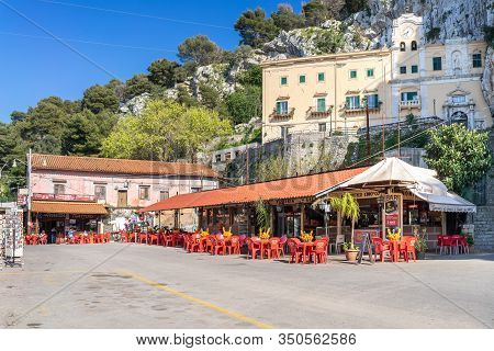Palermo, Italy - March 23, 2019: Santuario Di Santa Rosalia Sanctuary On Monte Pellegrino With Bars
