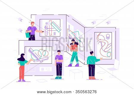 People Regarding Creative Artworks Or Exhibits In Museum. Exhibition Visitors Viewing Modern Abstrac