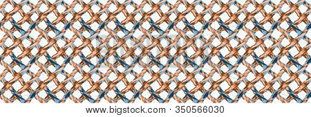 Woven Rope Fishing Net Banneron White Background. Hand Drawn Maritime Vector Seamless Border Pattern
