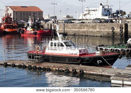 Vigo, Spain - Jan 24, 2020: Harbormaster Boat Moored In The Port On January 24, 2020 In Vigo City, P