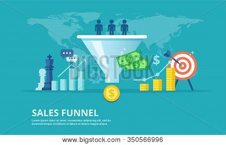 Purchase Funnel Flat Vector Illustration. The Process Of Communication And Attracting New Customers