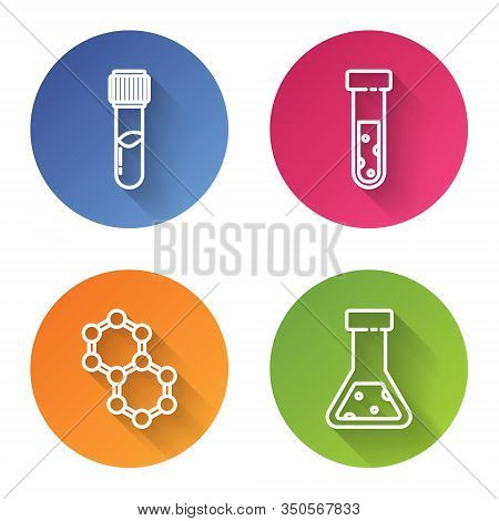 Set Line Test Tube And Flask Chemical, Test Tube And Flask Chemical, Molecule And Test Tube And Flas