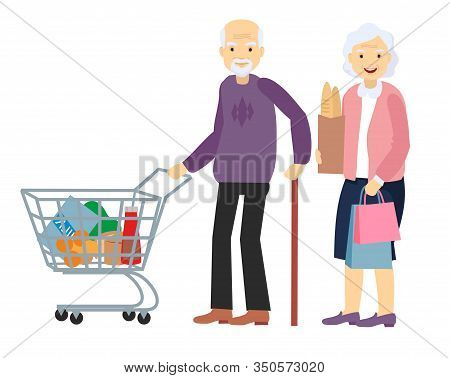 Couple Old Senior Man, Woman At The Store With Purchases. Grey Haired Elderly People Together. Healt