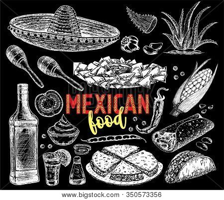 Mexican Food Background With Traditional Meal And Chalkboard Hat Vector Illustration. Hand Sketch Ve