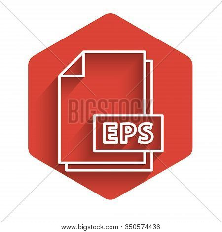 White Line Eps File Document. Download Eps Button Icon Isolated With Long Shadow. Eps File Symbol. R