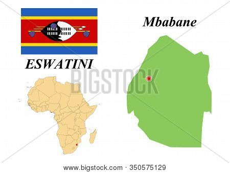 The Kingdom Of Eswatini. The Capital Is Mbabane. The Flag Of Eswatini. Map Of The Continent Of Afric