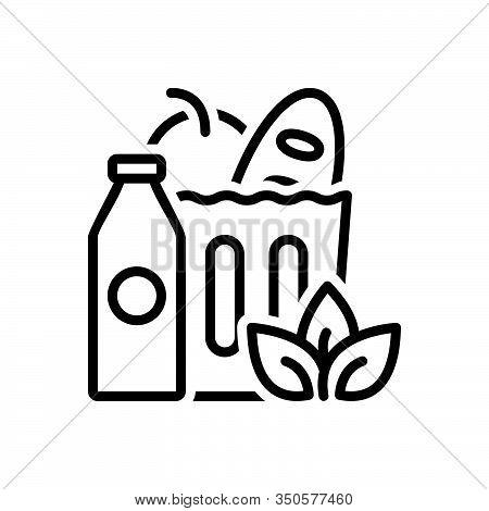 Black Line Icon For Groceries Food Supermarket Shop Bazaar Marketplace Element Healthy Product Consu