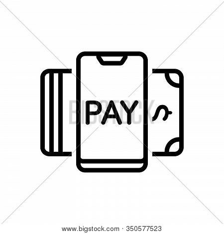 Black Line Icon For Payment-method Payment Method Cash Currency Check Credit Online Transaction Elec
