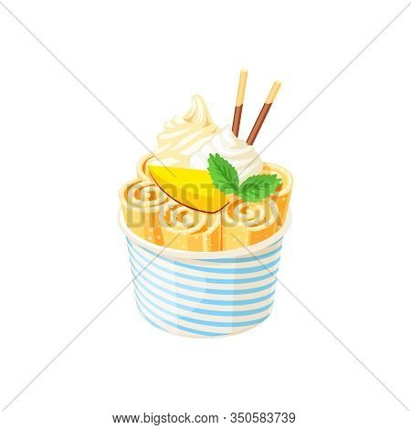 Basket Of Stir Fried Yellow Ice Cream Rolls Under Whipped Cream Decorated With Mango Slice. Vector I