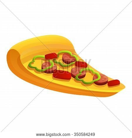 Tasty Pizza Slice Icon. Cartoon Of Tasty Pizza Slice Vector Icon For Web Design Isolated On White Ba
