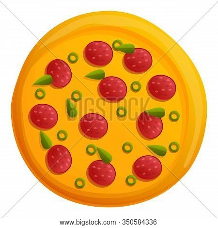 Margarita Pizza Icon. Cartoon Of Margarita Pizza Vector Icon For Web Design Isolated On White Backgr