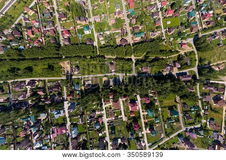 Panorama Aerial View On New Development Neighborhood In Novosibirsk, Russia In Morning Summer With C