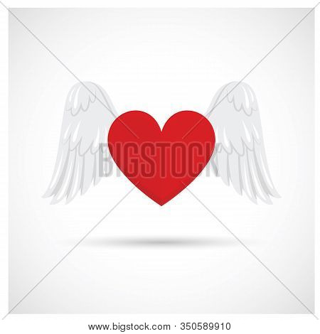 Heart Icon. Heart Icon With Wings Isolated With White Background. Heart Icon Eps. Heart And Wings ,