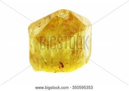 Citrine Mineral Isolated On The White Background
