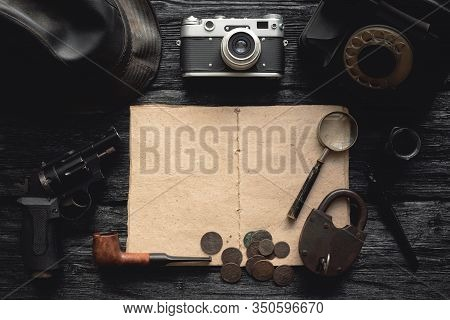 Detective Book On The Detective Agent Desk Flat Lay Background.
