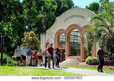 Melbourne, Australia - January 1, 2020: The Famous Tourist Attraction, The Conservatory, A Beautiful
