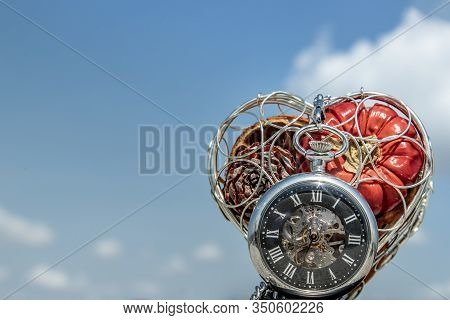 Fruit In The Heart Gift Box And A Pocket Watch With A Sky Background As A Symbol Time For Love.