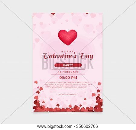 Happy Valentines Day Text, Hand Lettering Typography Poster On Red Gradient Background. Valentine, V