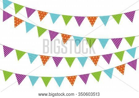 Buntings Flags Garlands On White Background For Birthday Celebration, Festival And Fair Decoration