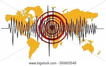 Earthquake Background. Seismogram For Seismic Measurement. Vector Background
