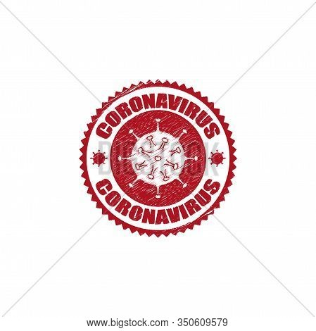 Coronavirus Icon And Round Distressed Stamp Seal With Coronavirus Text. Coronavirus Icon, 2019-ncov
