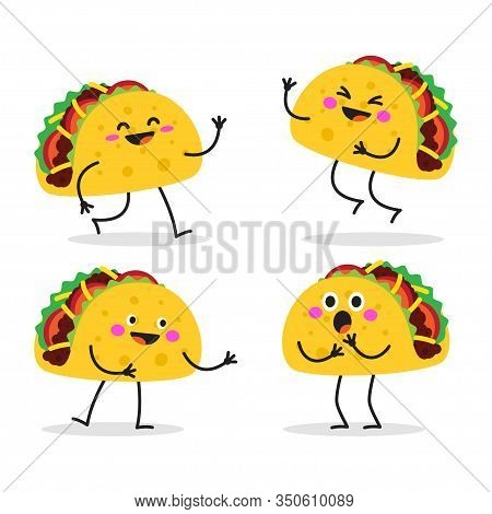 Taco. Cute Fast Food Character Set. Taco Tuesday. Taco Mexican Food. Vector Illustration Isolated On