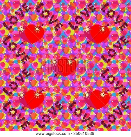 St. Valentine, Vector, Seamless Pattern, Inscription Love From Stylized Hearts And Arrows, In A Roma