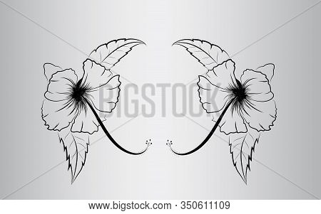 Hibiscus Flower Hand Drawn Illustration In Black And White,hibiscus Vector Isolated
