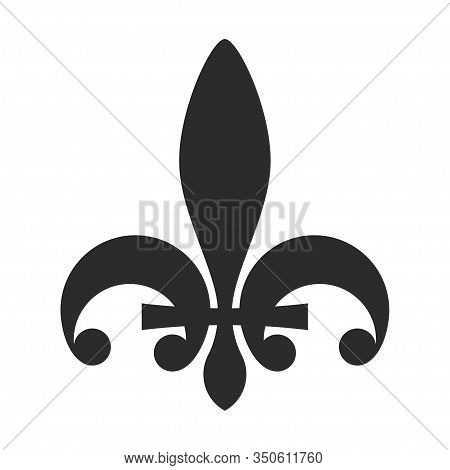 Fleur De Lis Symbol Black Icon, Heraldic Decoration Emblem