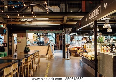 Oslo, Norway - August 11, 2019: View Of Mathallen Oslo, A Food Market In Grunerlokka, With Cafes, Ea