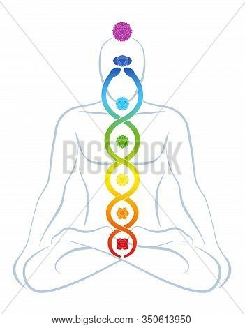 Meditating Yoga Man With Colored Chakras And Rainbow Gradient Kundalini Serpent, Symbolic For Spirit