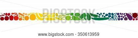 Colorful Fruits And Vegetables In A Rainbow Gradient Colored Row. Seamless Extendable Horizontal Str