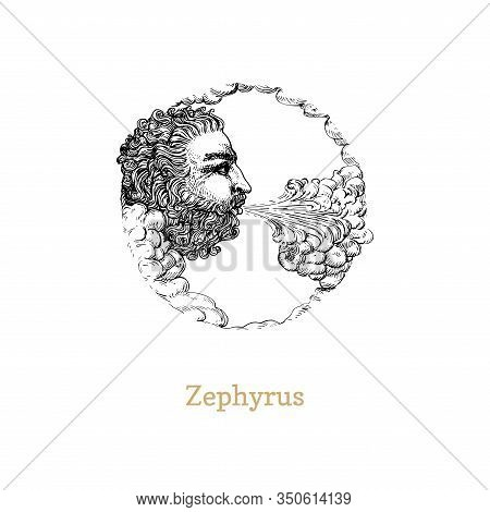 Zephyrus, West Wind Hand Drawn In Engraving Style. Vector Retro Graphic Illustration Of Mythological