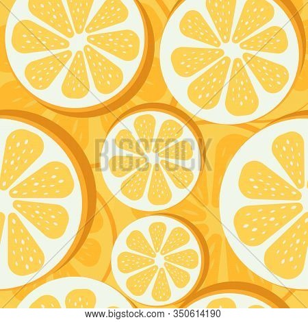 Seamless Summer Oranges Pattern. Summer Pattern Of Slice Of Oranges. Oranges Summer Isolated Icon, V