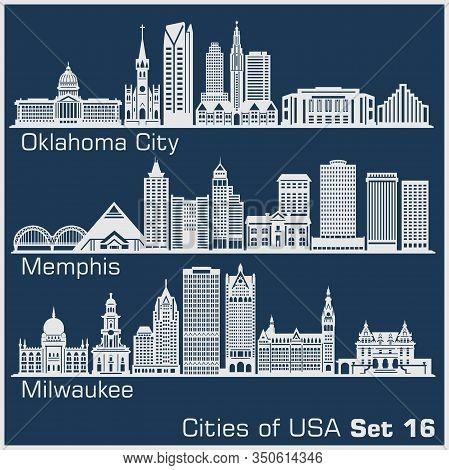 Cities Of Usa - Oklahoma City, Memphis, Milwaukee. Detailed Architecture. Trendy Vector Illustration