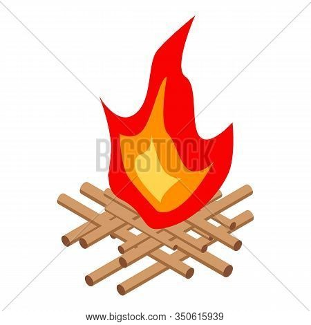 Night Campfire Icon. Isometric Of Night Campfire Vector Icon For Web Design Isolated On White Backgr