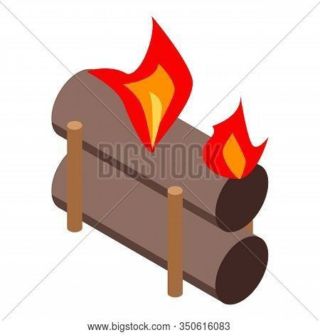 Roasting Campfire Icon. Isometric Of Roasting Campfire Vector Icon For Web Design Isolated On White